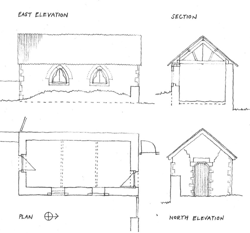 A drawing of the Dead House before Restoration